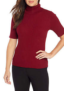 Elbow Sleeve Turtleneck with Mixed Ribs
