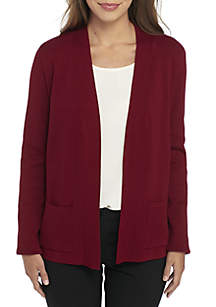 Open Front Cardigan with Rib Placket