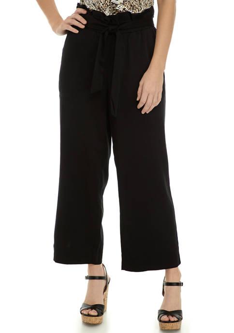 Womens Paperbag Waist Cropped Wide Leg Pants