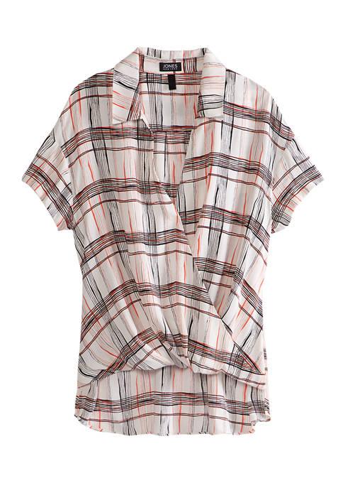 Jones New York Womens Crossover Short Sleeve Top