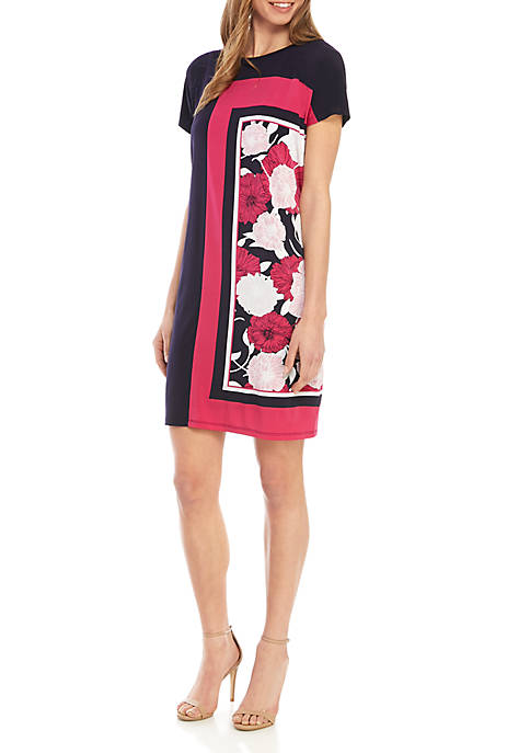 Jones New York Short Sleeve Placement Scarf Dress