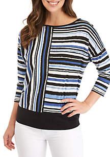 Jones New York Striped Color Block Drop Shoulder Top