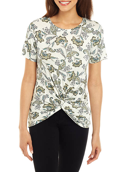 Jones New York Short Sleeve Floral Canary Twist