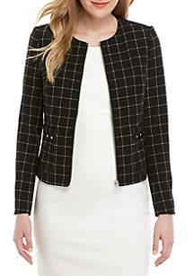 Jones New York Zip Up Grid Jacket