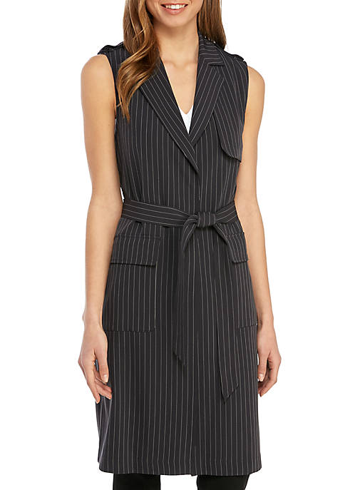 Jones New York Long Pinstripe Vest with Patch
