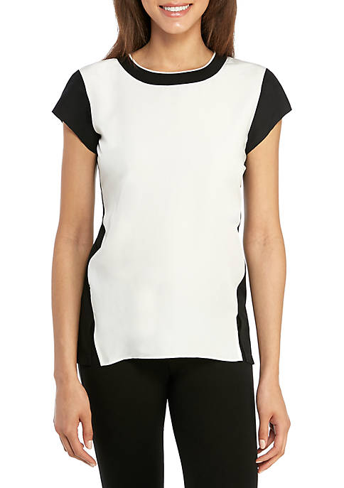 Jones New York Color Block Top with Ribbed