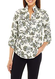 Jones New York Upturned Collar Roll Tab Shirt