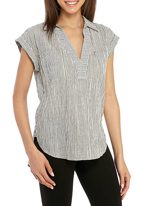 Jones New York Popover Boyfriend Top