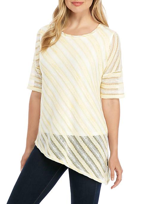 Short Sleeve Asymmetrical Hem Top