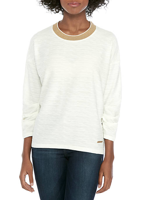 Jones New York Pleat Sleeve Pullover Top