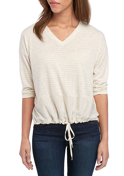 3/4 Sleeve Stripe T Shirt