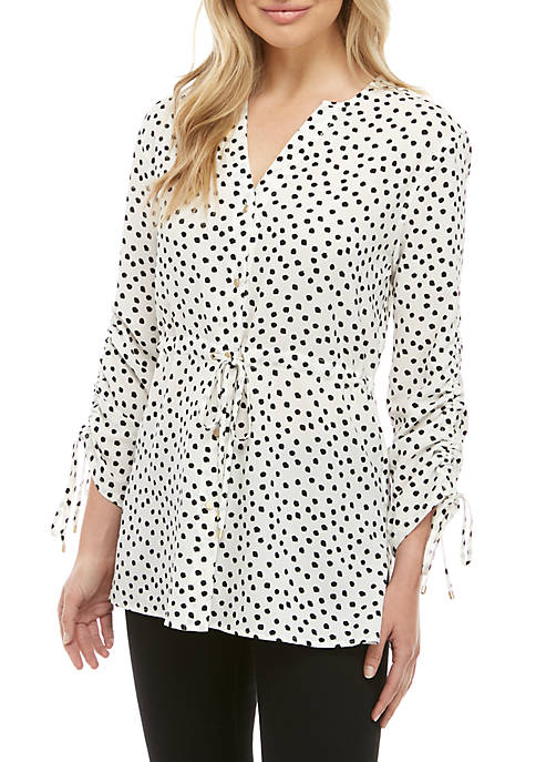 Drawcord Hem Button Down Top