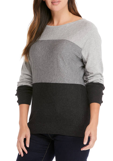 Kim Rogers® Womens Long Sleeve Colorblock Sweater