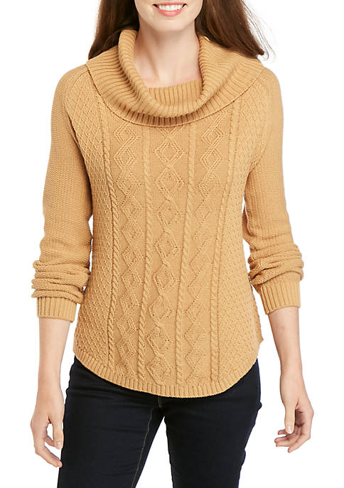 Kim Rogers® Cowl Neck Fisherman Cable Knit Sweater
