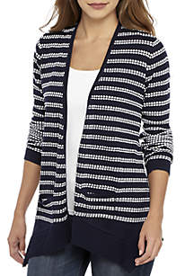 Textured Stitch Open Front Cardigan