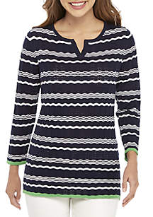 Kim Rogers® Pointelle Stripe Pullover Sweater