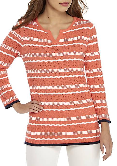 Kim Rogers® Pointelle Stripe Pullover Sweater