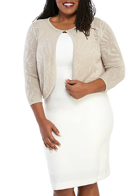 Kim Rogers® Plus Size Burn Out Bolero Jacket