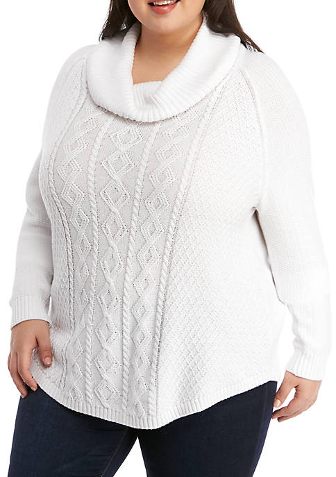 Kim Rogers® Plus Size Cowl Neck Fisherman Cable
