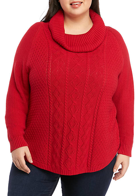Plus Size Cowl Neck Fisherman Cable Knit Sweater