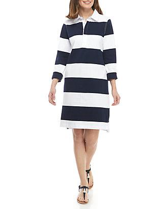 9cc6275ec1a Crown & Ivy™. Crown & Ivy™ Long Sleeve Stripe Rugby Polo Dress