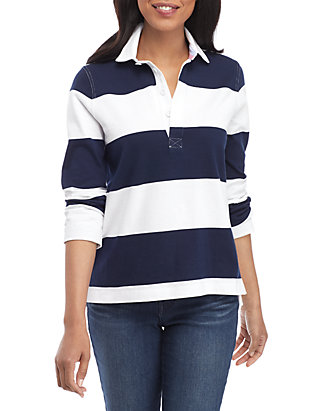 404a74c96e9 Crown & Ivy™. Crown & Ivy™ Long Sleeve Stripe Rugby Polo