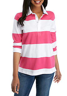 Crown & Ivy™ Long Sleeve Stripe Rugby Polo