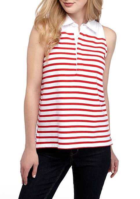 Crown & Ivy™ Sleeveless Stripe Collar Top