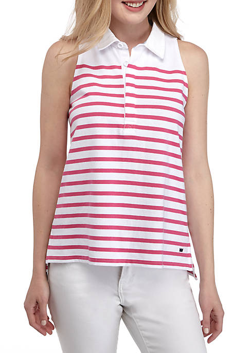 Crown & Ivy™ Sleeveless Stripe Collar Top