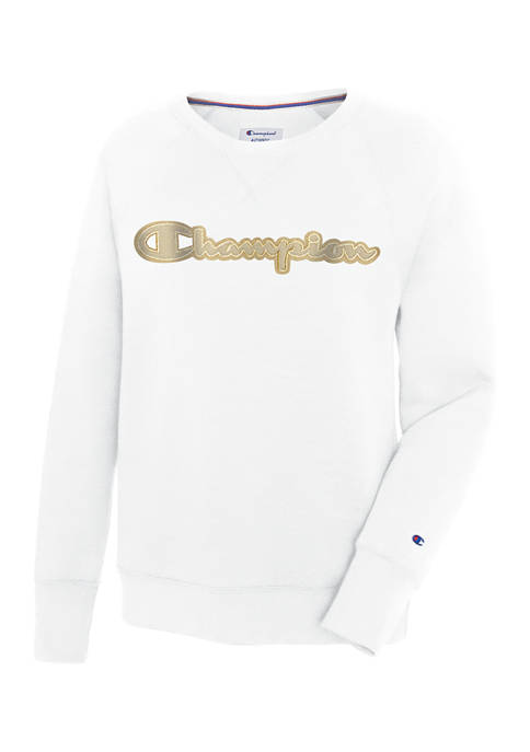 Champion® Powerblend® Applique Boyfriend Crew Sweatshirt