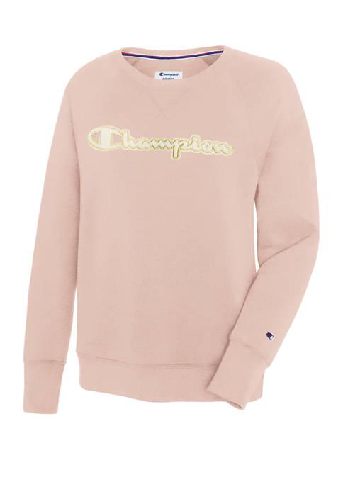 Champion® Powerblend® Applique Boyfriend Crew Sweatshirt