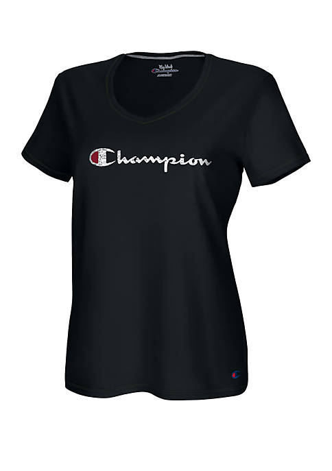Champion® Plus Size V Neck Graphic T Shirt