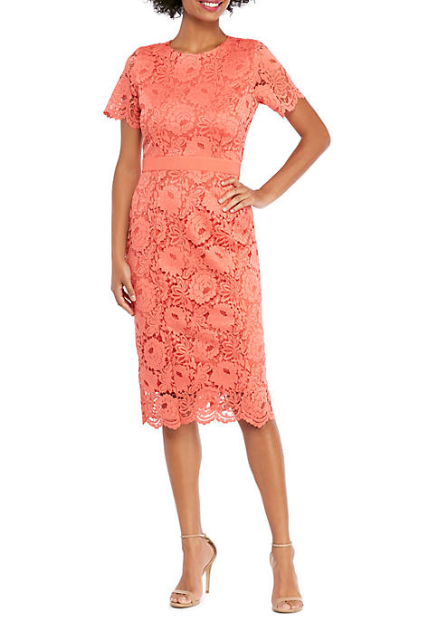 THE LIMITED Short Sleeve Lace Scallop Edge Sheath