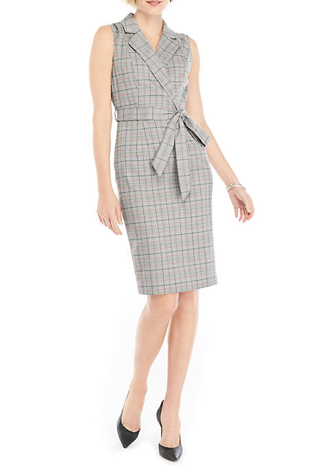 THE LIMITED Sleeveless Plaid Sheath Dress with Lapel