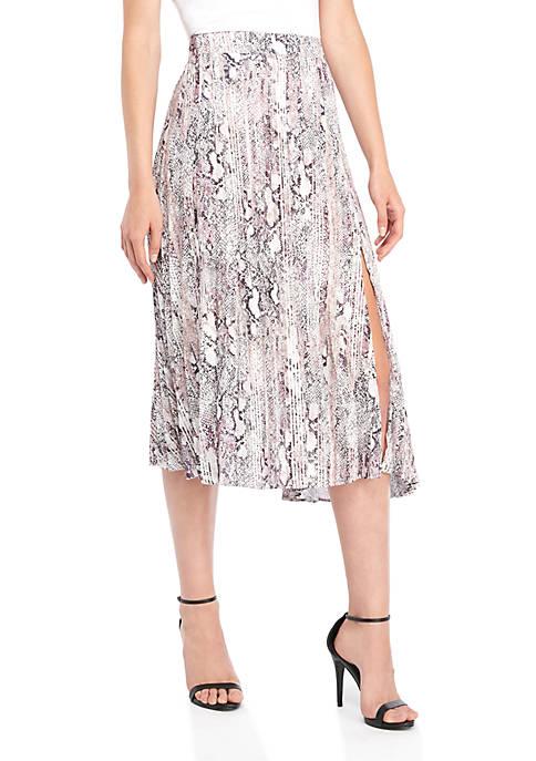 Snake Print Tie Waist Pleat Slit Skirt