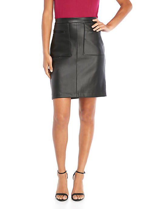 Faux Leather Pocket Front Skirt