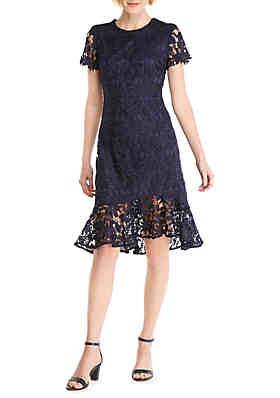 61c50c9f THE LIMITED Short Sleeve Asymmetrical Ruffle Hem Dress ...