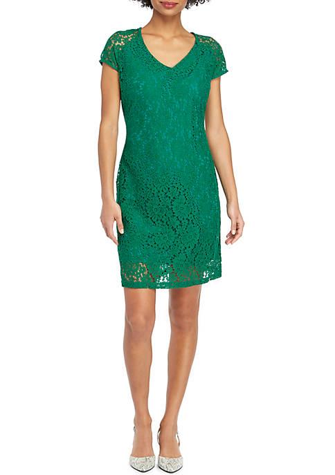Short Sleeve V Neck Lace Dress