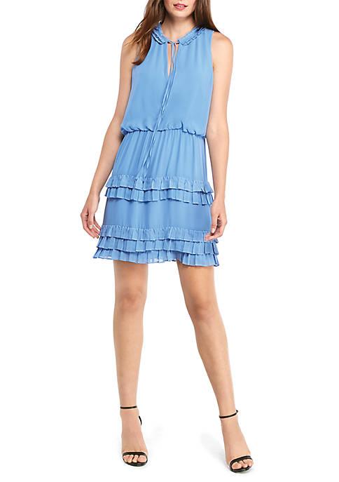 Sleeveless Tie Neck Ruffle Skirt Dress
