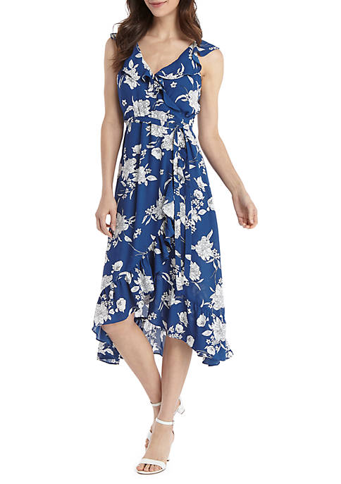 THE LIMITED Cold Shoulder Floral Ruffle Hi Lo