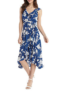 THE LIMITED Cold Shoulder Floral Ruffle Hi Lo Dress