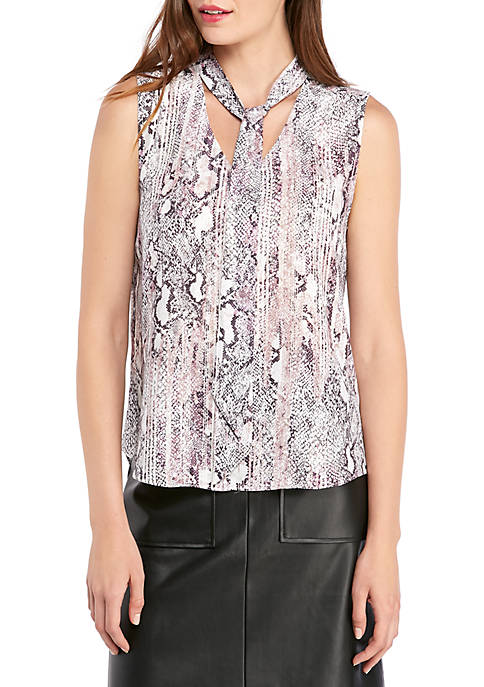 THE LIMITED Sleeveless Tie Neck Blouse