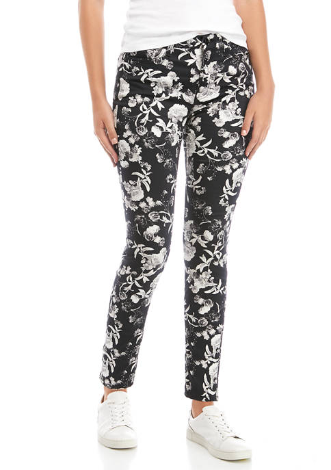 Womens Printed Ankle Skinny Jeans