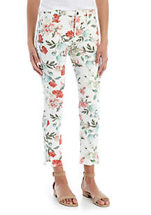 JEN7 by 7 For All Mankind Printed Cropped Skinny Jeans