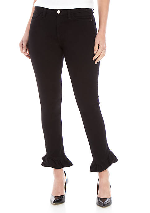 Ankle Skinny Jeans with Ruffle Hems