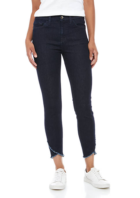 Ankle Skinny Jeans with Scallop Hems