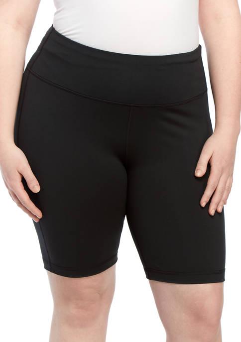 Plus Size Solid Bike Shorts