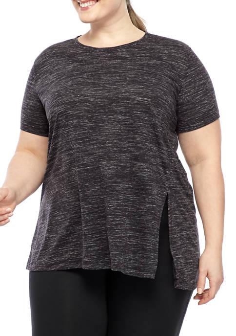 Plus Size Textured Asymmetric T-Shirt