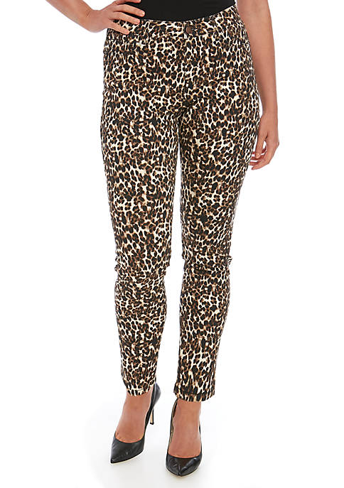 Womens Animal Print Skinny Jeans