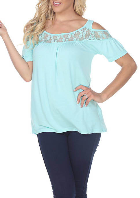 White Mark Bexley Cold Shoulder Short Sleeve Tunic